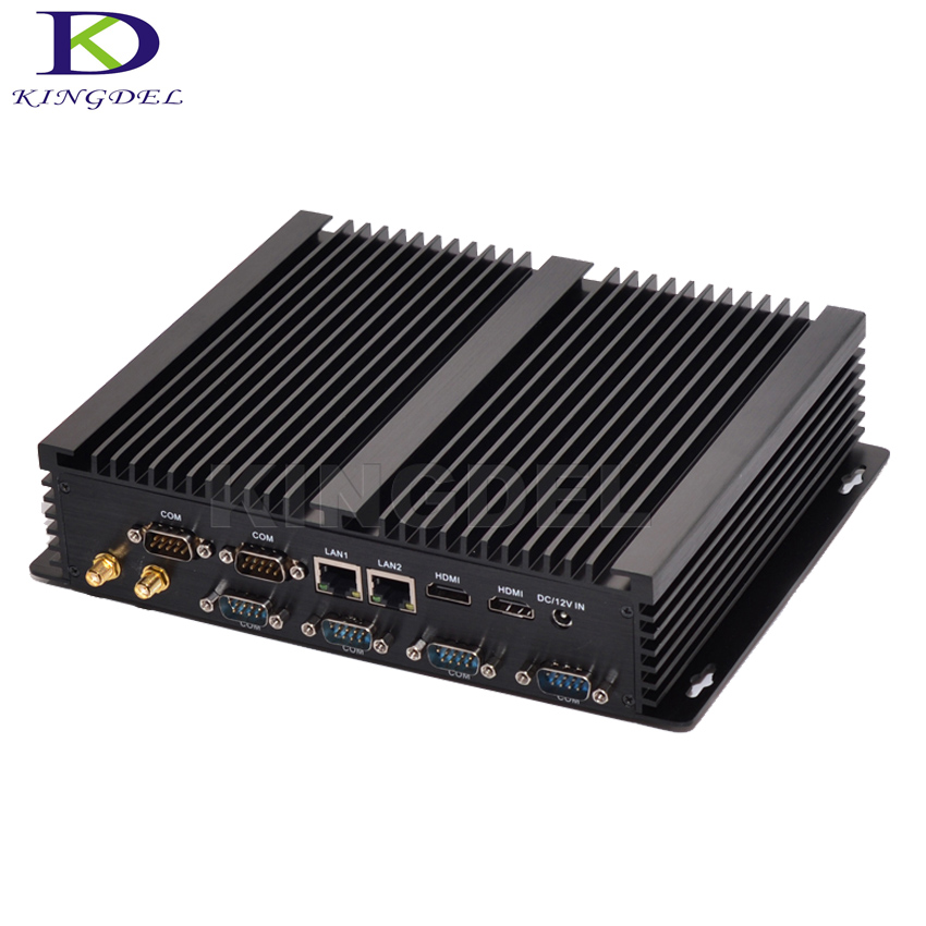 Fanless Mini Pc Industrial Computer With USB 3.0 Dual Gigabit Lan 6 COM HDMI Intel Core I7 5550U Windows 10 Linux SSD+HDD