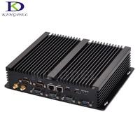 Fanless mini pc industrial computer with USB 3.0 Dual Gigabit Lan 6 COM HDMI Intel Core i7 5550U Windows 10 Linux SSD+HDD