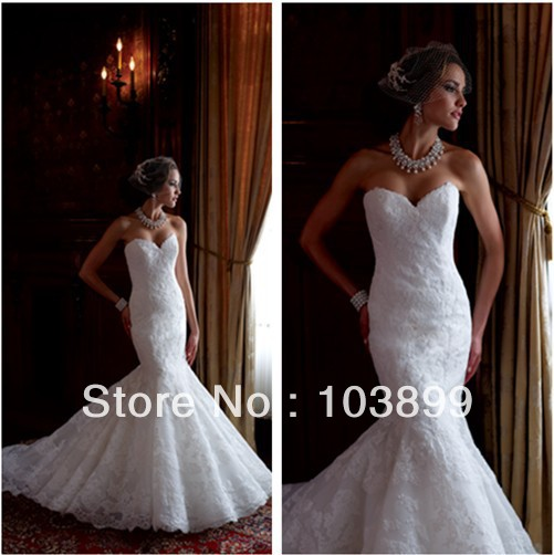 Trumpet Style Wedding Gowns: White New Fashion Trumpet Style Sweetheart Fully Lace