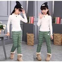 Casual Kids Duck Down Pants Autumn Winter Clothes Thick Warm Lightweight Trousers Solid Boys Girls Long
