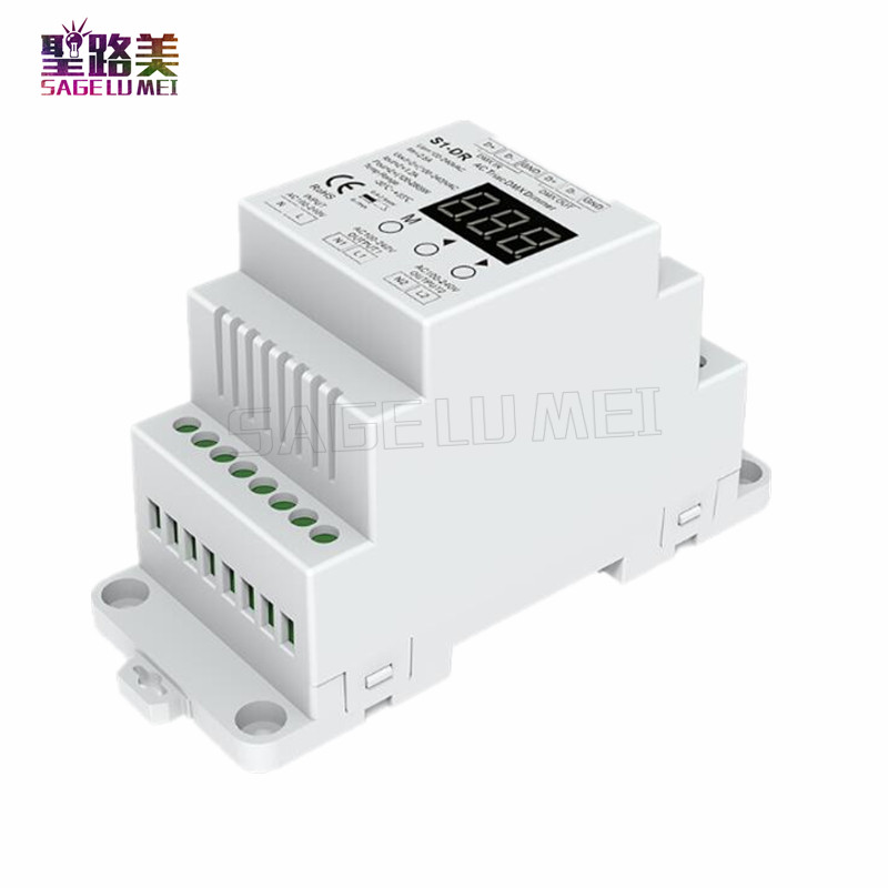 Free Shipping S1-DR AC100V-240V DIN Rail 2 Channel 2CH AC Triac DMX Dimmer, Dual Channel Output Silicon DMX512 LED Controller