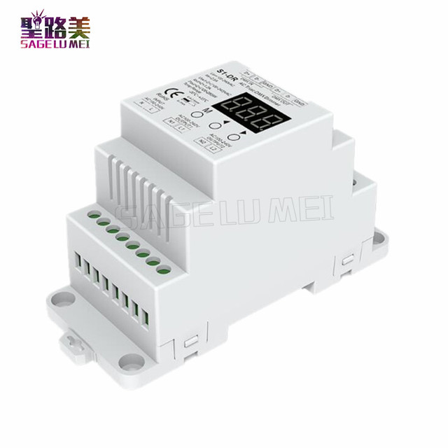 Freies verschiffen S1-DR AC100V-240V din-schiene 2 Kanal 2CH AC Triac DMX Dimmer, Dual channel ausgang Silicon DMX512 LED controller