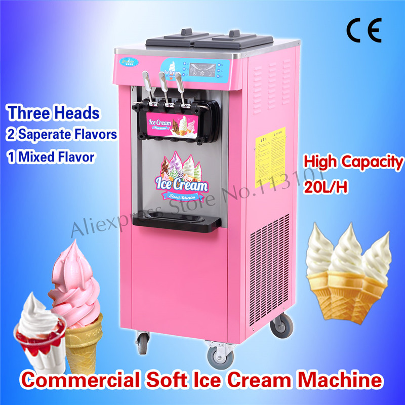 Pink Color Ice Cream Machine for Restaurants Ice Cream Business Three Heads with Universal Wheels 220V Digital Control System