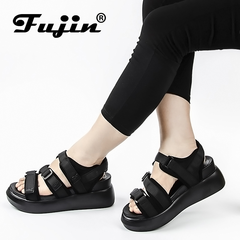 Fujin Women Slipper Sandals Heels Wedges Platform Pu Leather Peep toe Elegant Female Sandals Ladies Mules clogs Summer Shoes
