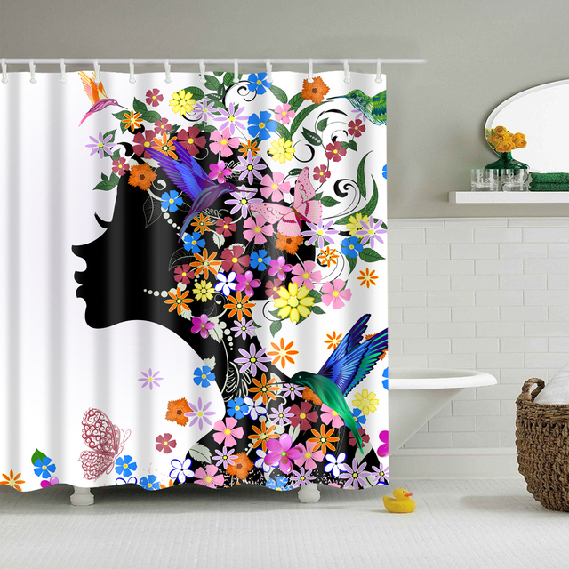New 25 Patterns Waterproof Fabric Bath Shower Curtain Bathroom Drapes Panel With 12 Hook Oct6