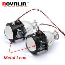 "ROYALIN Bi Xenon HID H1 Projector Lens 2.5"" Metal Auto Headlight Lens Hi/Lo Beam for H1 H4 H7 Car Styling Bulb Retrofit DIY"
