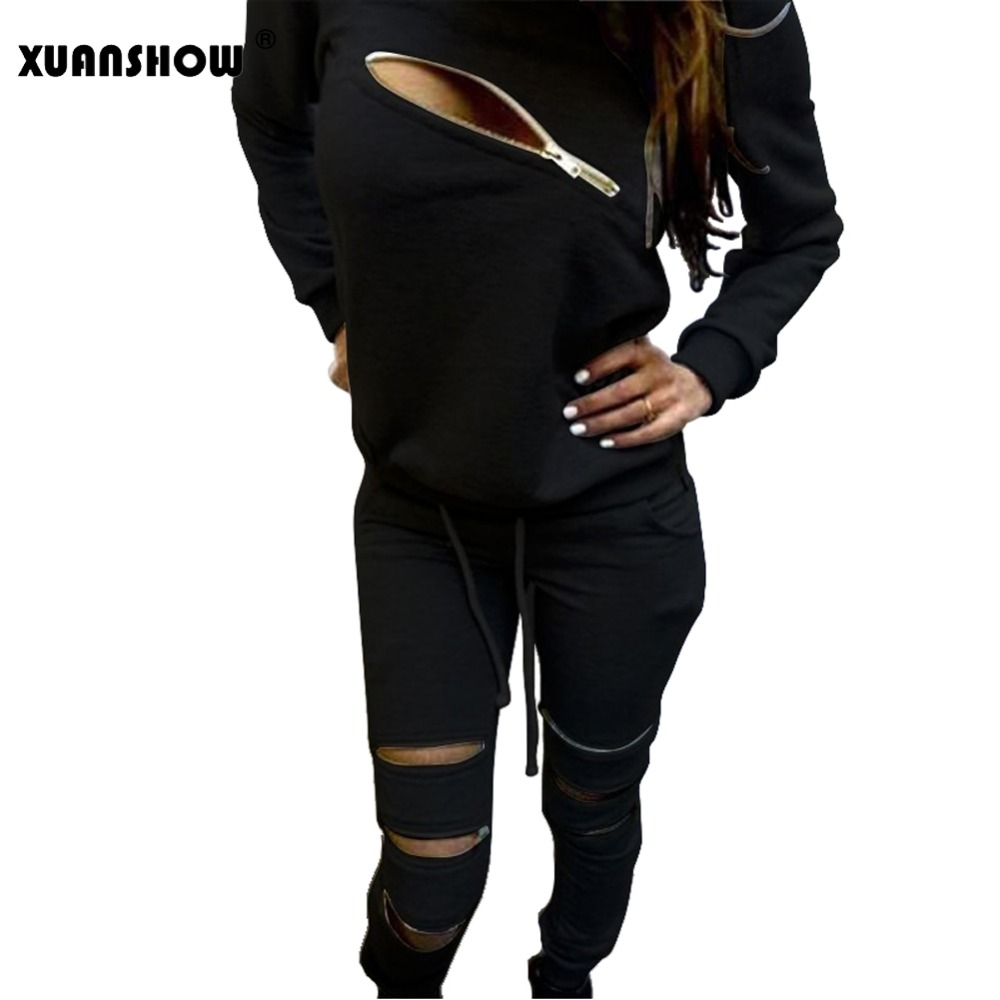 XUANSHOW Fashion Zipper Hollow Out Women Tracksuits Suit O-Neck Long Sleeve Womens Hoodies 2 Piece Set Sportswear Moletom