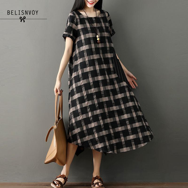 Vintage Dress Summer Women Plaid Robe Femme 2018 New Casual Short Sleeve Pockets Cotton Linen O-neck Loose Women Dresses