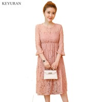 Spring Summer Lace Maternity Dresses Clothing for Pregnancy Clothes for Pregnant Women Gravida Wear 2018 New White Pink Y084