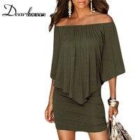 Dear Lover армия зеленый Slash шеи женщины мини-платье осень Стиль с плеча сексуальные платья vestidos черный платье LC22820