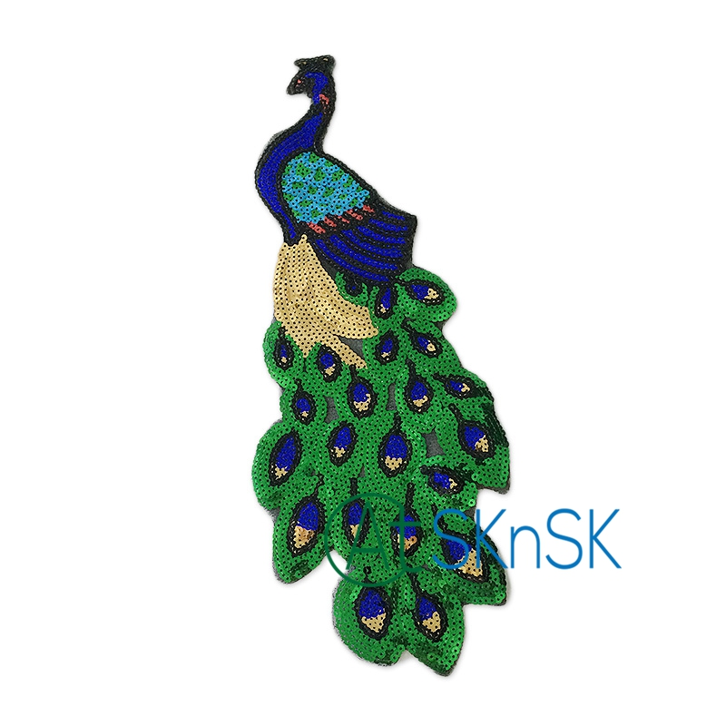 1pcs Popular large peacock patch DIY women dress appliques accessories for sewing sequined iron embroidery patches for clothes
