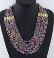 2017 verão bohemian jóias multi layer colar de contas coloridas colares collar choker declaração colar de jóias para as mulheres