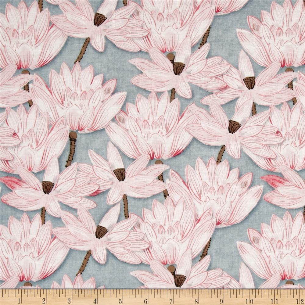 LEO&LIN Retro light grey black lotus pond lotus Lotus flower print dress Patchwork Cotton Fabric tissus (1 meter)