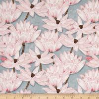 LEO LIN Retro Light Grey Lotus Pond Lotus Lotus Flower Print Dress Patchwork Cotton Fabric 1