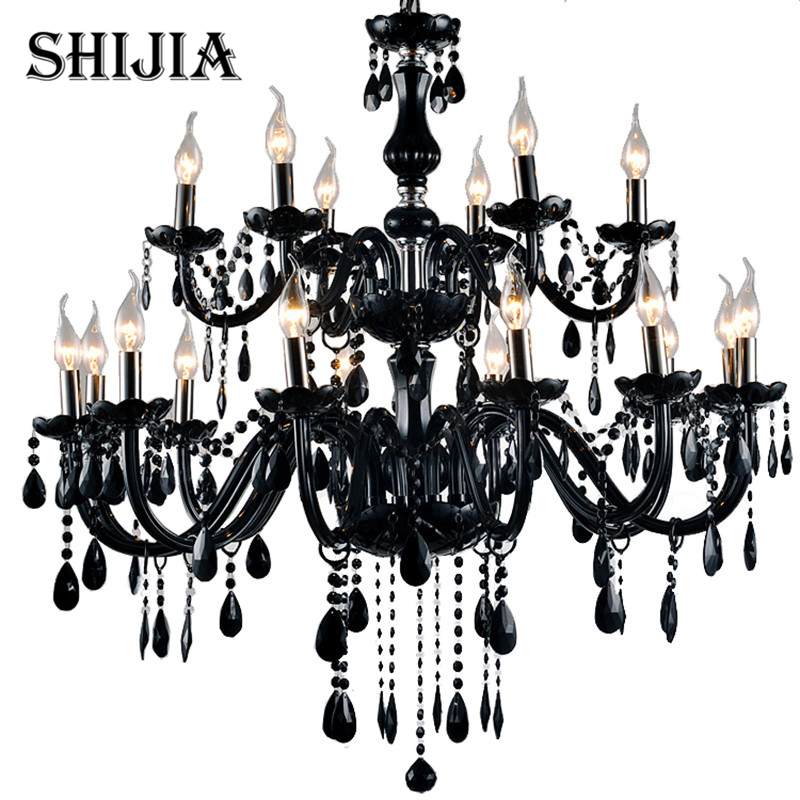 18 Lights Luxury black crystal Chandelier lighting lamp candle crystal chandelier lamp brief fashion living room lamps lighting free shipping white blue chandelier living room candle lamps luxury acrylic crystal chandelier lights ac 100% guaranteed