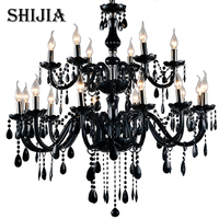 18 Lights Luxury Black Crystal Chandelier Lighting Lamp Candle Crystal Chandelier Lamp Brief Fashion Living Room