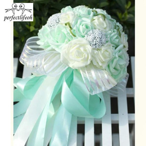 Image 3 - perfectlifeoh Mint Green Artificial flowers Wedding Bridesmaid Bouquets 2016 Romantic Wedding brooch bouquets Wedding Accessies