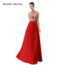 Elegant Red A-Line O Neck Beaded Evening Dress 2017 with Rhinestone Formal  Women Long 4a007be928d7