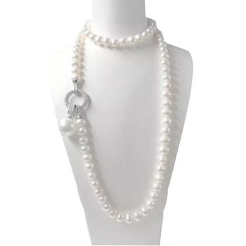 Jade Angel White Simulated Shell Pearl Strands Sweater Pendant Necklace with Cubic Zirocnia Charm Mother's Day Christmas Gifts