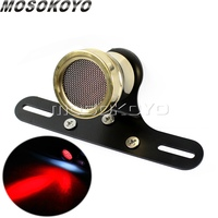 Universal Motorcycle Brass Taillight Stop Lamp For Harley Cafe Racer Chopper Retro LED Tail Brake Light License Plate Rear Light