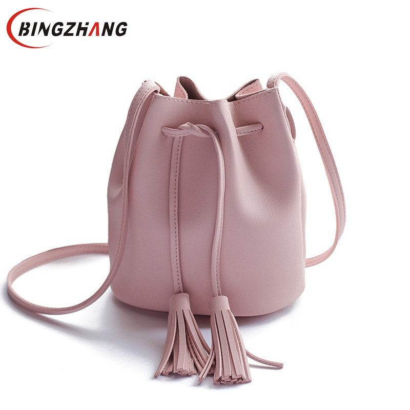 small new bucket bag women leather shoulder bag candy color mini handbags tassel messenger bags crossbody bags handbags L4-3239