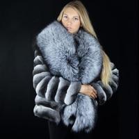 FURSARCAR 2018 NEW Fashion Chinchilla And Natural Rex Rabbit Fur Coat Winter Thick Warm Fur Coat Hot sale Good Quality Fox Fur