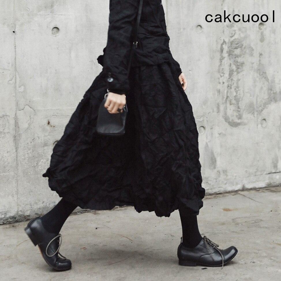 Cakucool Dark Black Women Winter Skirts Vinage Folded Design Woolen Pleated All match Mid Long Skirt