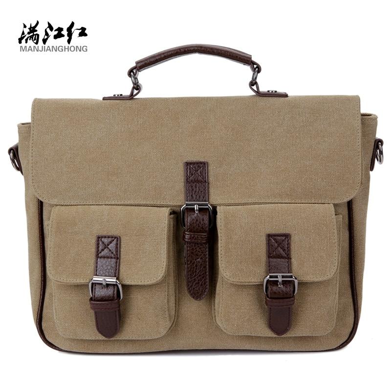 Men Messenger Bags Vintage Canvas Briefcase Shoulder Bag Mens Canvas Handbag Laptop Office Briefcase Rucksack Tote