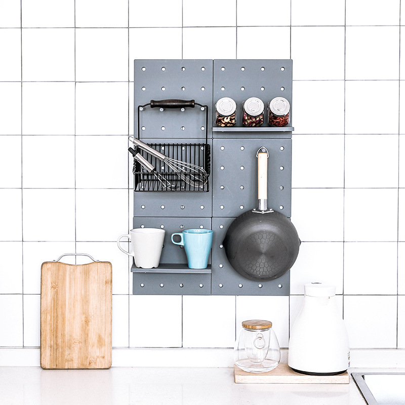 kitchen pegboard distressed tables home use pp hole board storage shelf with sticker wall hanging hooks tool organizer in holders racks from garden