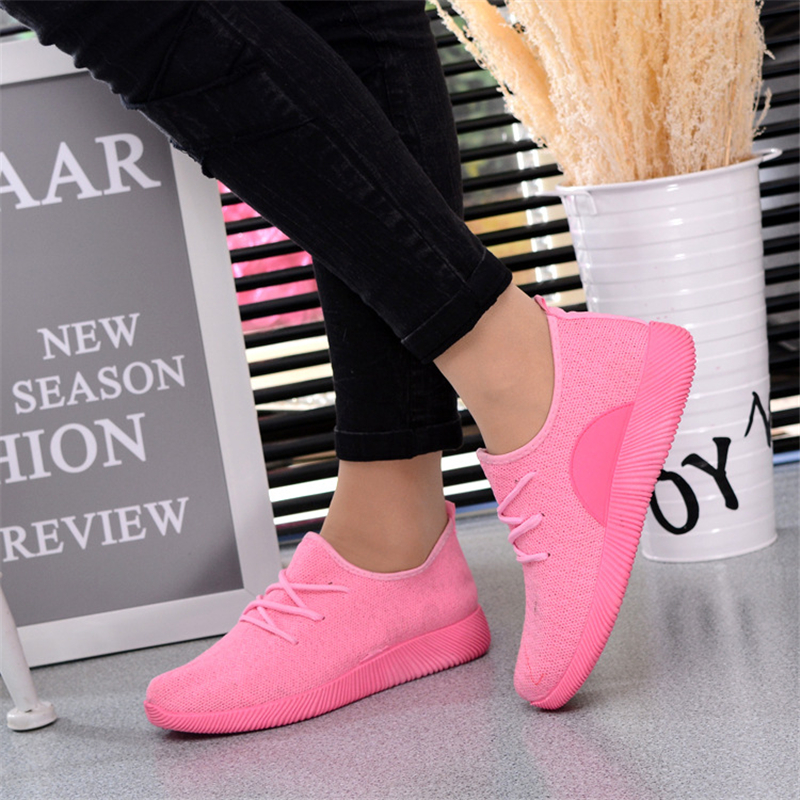 Large Size Women Sneakers 2018 New Summer Female Breathable Mesh Pink Shoes Brands Lightweight Fashion Ladies Flat Casual Shoes
