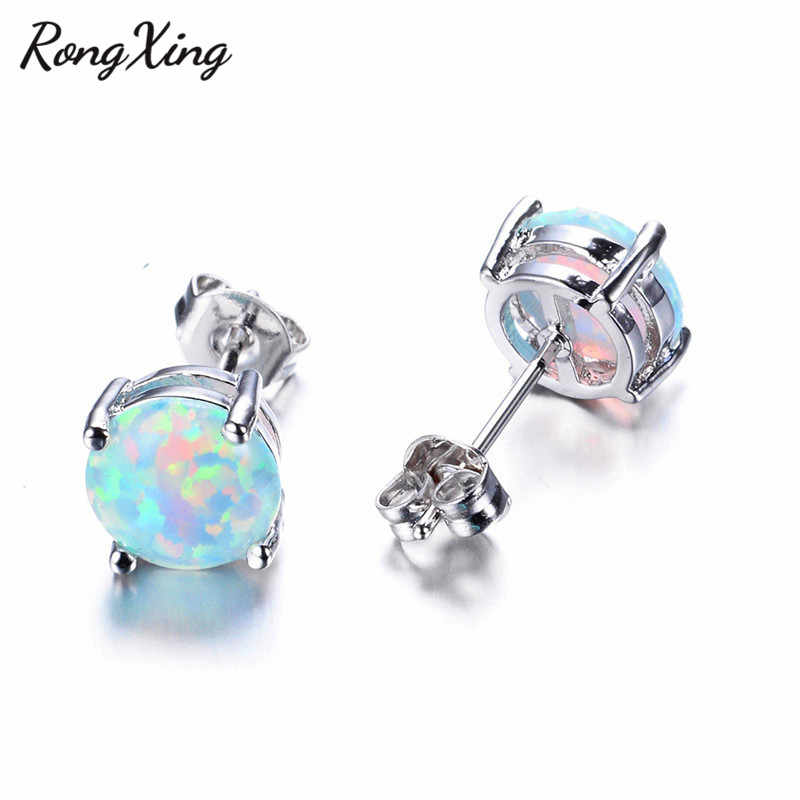 RongXing 6MM Round White/Blue/Purple Fire Opal Stud Earrings For Women 925 Sterling Silver Filled Jewelry Cute Earrings Ear0783