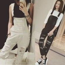 Черный, белый цвет однотонные джинсовые женские комбинезон тело feminino повседневные Боди Комбинезоны Женщины рваные боди комбинезон
