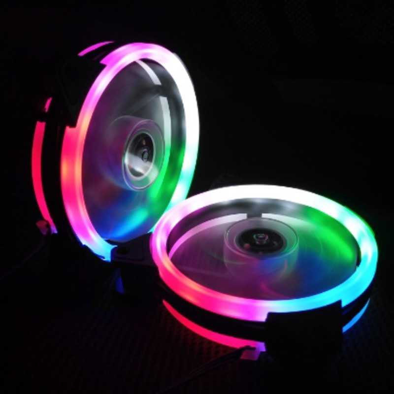 Luminous 120mm Double Aperture Multicolored LED Computer Case PC Cooling Fan RGB Adjust Quiet + IR Remote Cooler Fans For CPU 2200rpm cpu quiet fan cooler cooling heatsink for intel lga775 1155 amd am2 3 l059 new hot