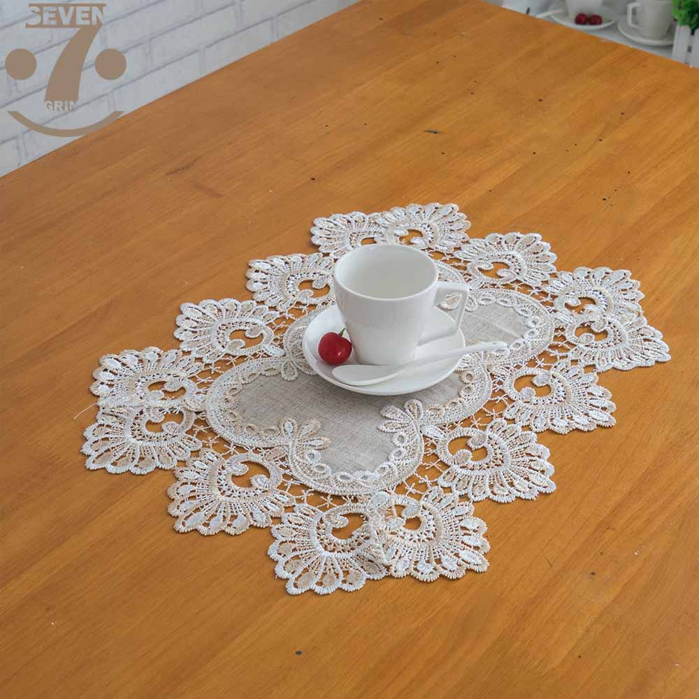 Us 5 95 43 Off Free Shipping 1lot 3pcs 30x45cm Linen Style Pea Embroidered Border Placemats For Home Dining Coffee Table Pad In Mats Pads From
