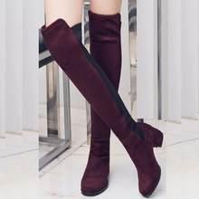 27c93a6576 Dulce mujer 5804 mujeres 5 cm tacones gruesos zapatos Suede estiramiento botas  mujer mediados talón sobre la rodilla botas larga.