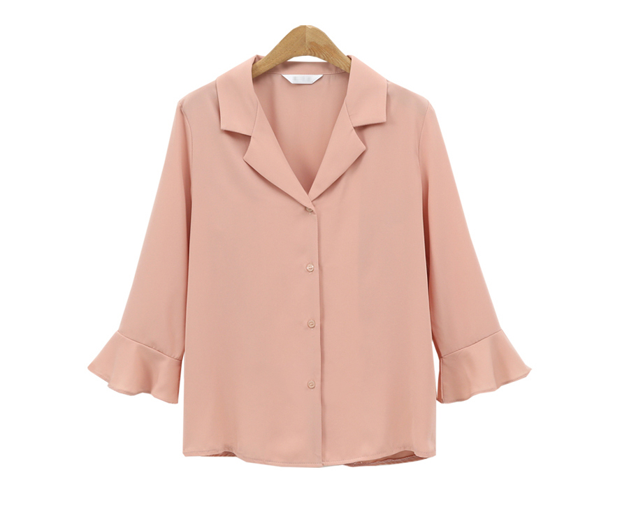 Europe And America V Collar Long Sleeved Female Solid Color Woman Shirt Autumn Blusas Feminina QMN7092