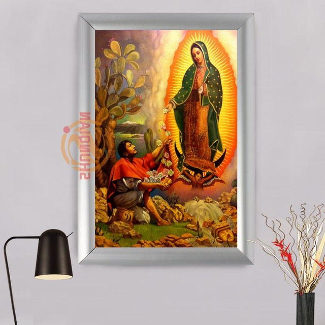 Our Lady Of Guadalupe Aluminum Alloy Painting Frame Home Decor
