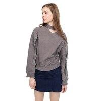 ilishop fall 2017 fashion sweatshirt plus size women clothing v-neck women tops solid blouse Ball decorated zipper shirt bts