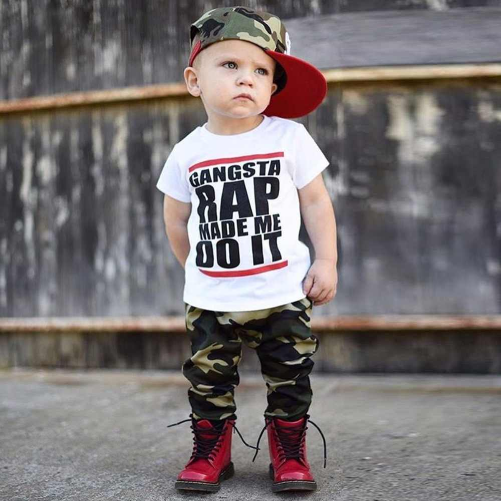 Puseky 2017 Baby Boys Girls Camiseta de algodón de manga corta de verano chico estampado de letras de estilo hip hop Party Club Night Light Punk camiseta superior 1-6T