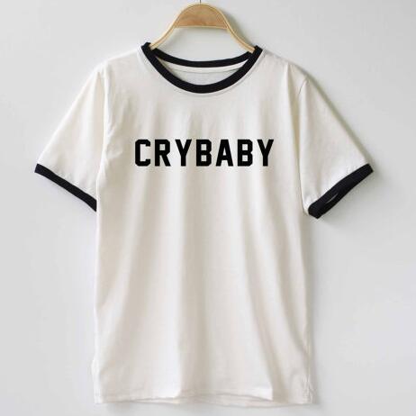 Crybaby engraçado tshirt tumblr gráfico hispter t camisa ringer topos moda de alta qualidade unisex t camisa dropship