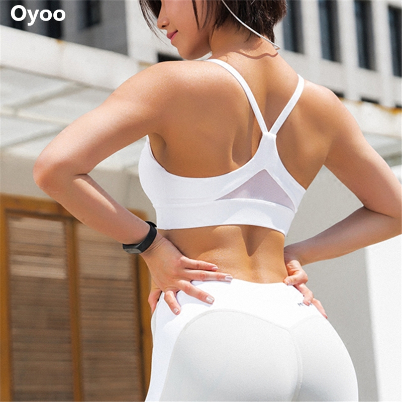 Oyoo Shakeproof High Impact Sports Bra Sexy Mesh Patchwork Gym Fitness Crop Top