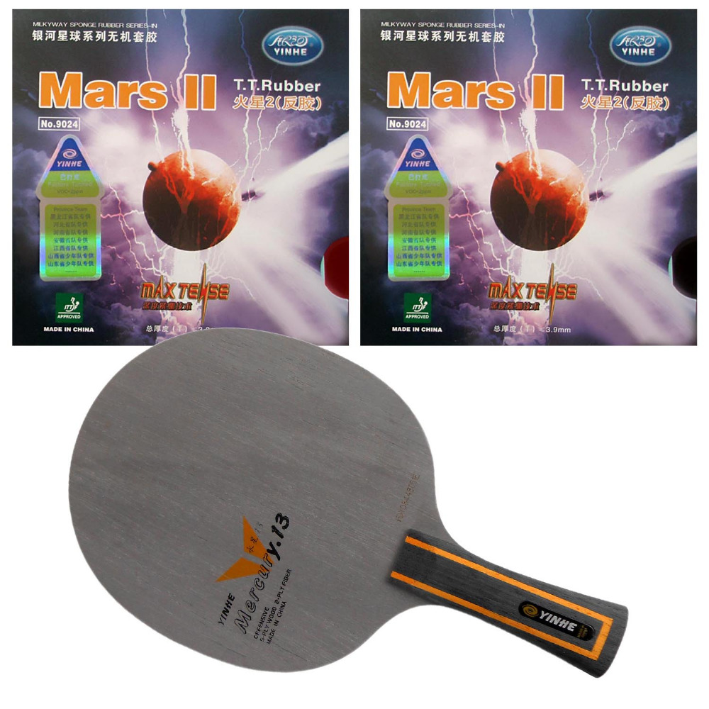 Pro Table Tennis PingPong Combo Racket: Yinhe Mercury.13 Blade with 2x Mars II Factory Tuned Rubbers Long Shakehand FL yinhe milky way galaxy n9s table tennis pingpong blade long shakehand fl