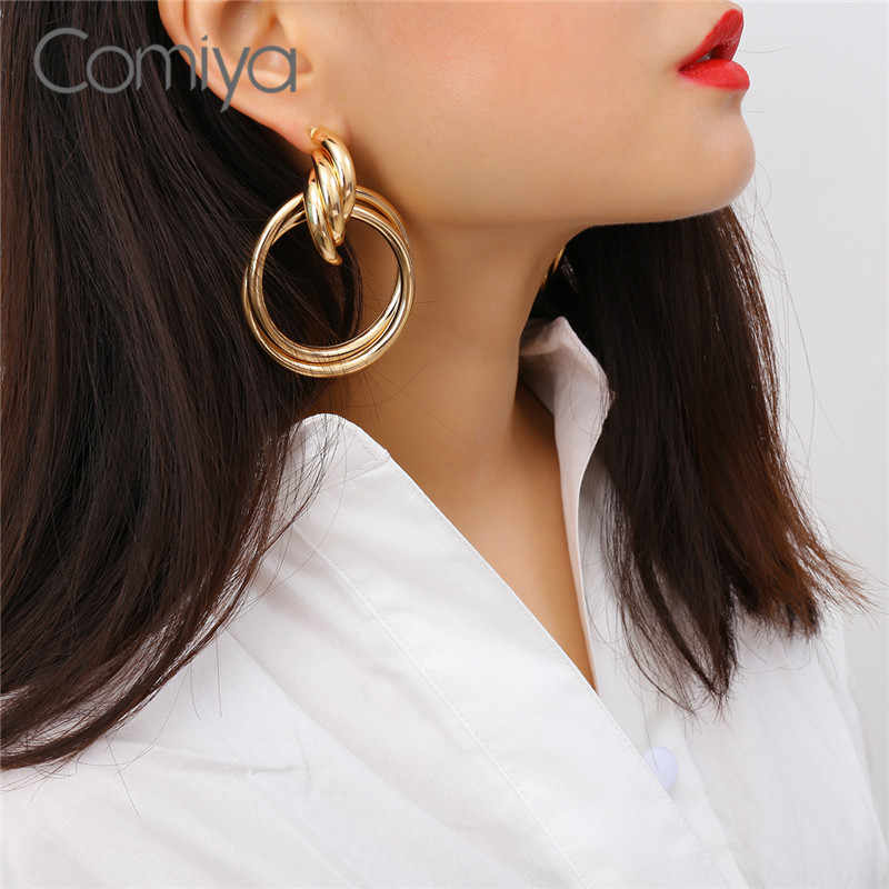 Comiya Elegant Earrings Gold Color Zinc Alloy Ethnic Statement Long Dangle Earring For Women Unique Designed Accessories