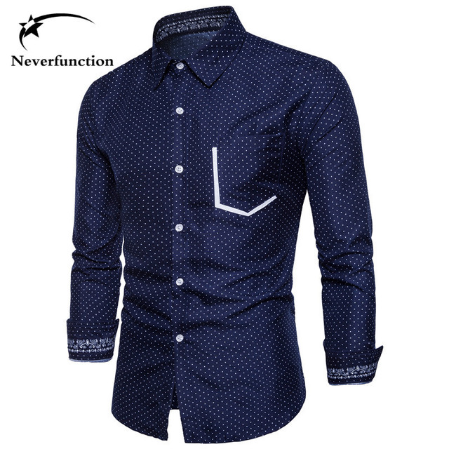 05b2652547 New Casual Men Shirt Brand Design Polka dot Printed Stitching Slim Fit Long  Sleeve Camisas Hombre Business Mens Dress Shirts