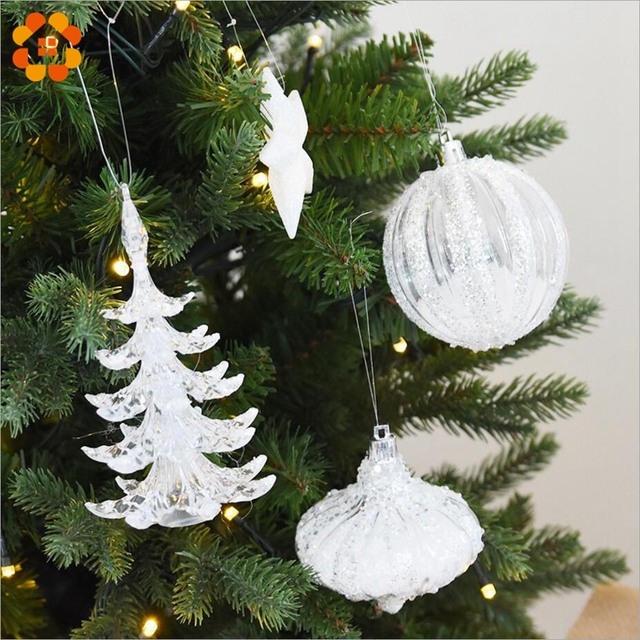 snow white crystal multi shape christmas tree ornament decorations for home snowman christmas gifts xmas tree