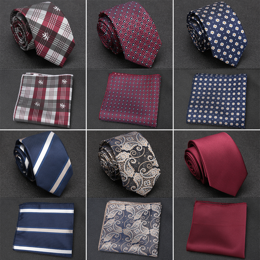 XGVOKH Men Tie Cravat Set Fashion Wedding Ties For Men Hanky Necktie Dot Striped Gravata Jacquard Tie Social Party Accessories