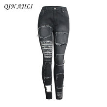 QIN AJILI Hot Sale Women s Jeans Black Mid Waist Punk Style Skinny Pencil Pants Denim Plus Mujer Vintage Zipper Lady Trousers