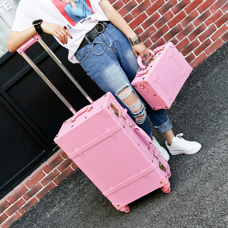 Wholesale!High quality girl pu leather trolley luggage bag set,lovely full pink retro suitcase for female,vintage luggage gift