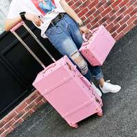 Wholesale!High quality girl pu leather trolley luggage bag set,lovely full pink vintage suitcase for female,retro luggage gift