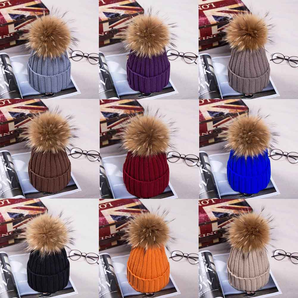 Natural Fur Raccoon Fur Pompon Winter Women Warm Knit Hat Cap Crochet Skullies Beanie With Big Ball Solid Thick Cap children girl natural pompon knit hat cap winter warm crochet beanie with fur pom poms ball kids